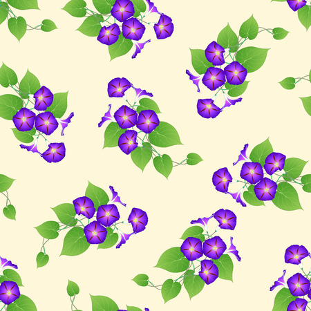 Purple Morning Glory on Beige Ivory Background. Vector Illustration. Иллюстрация