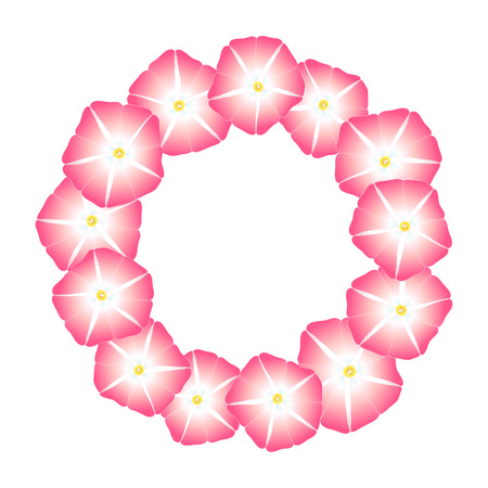 Pink Morning Glory Flower Wreath. Vector Illustration. Иллюстрация