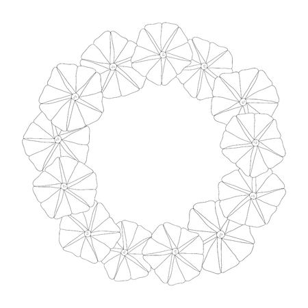 Morning Glory Flower Outline Wreath. Vector Illustration.