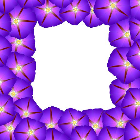 Purple Morning Glory Flower Border. Vector Illustration.