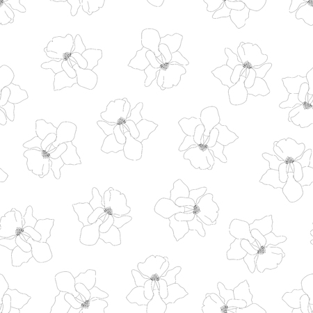 Vanda Miss Joaquim Orchid Outline on White Background. Singapore National Flower. Vector Illustration.