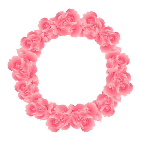 Dianthus caryophyllus - Pink Carnation Flower Wreath. Vector Illustration.