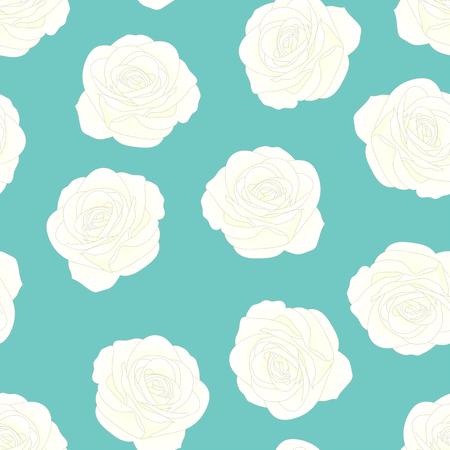 White Rose - Rosa on Blue Mint Background. Valentine Day. Vector Illustration.