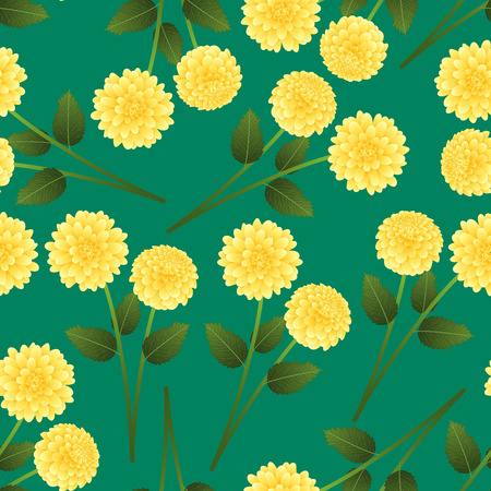 Yellow Dahlia on Green Background. Mexicos national flower. Vector Illustration. 일러스트