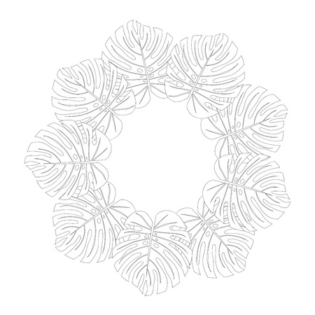 Philodendron Monstera Leaf Wreath Outline isolated on White Background. Vector Illustration. Vettoriali