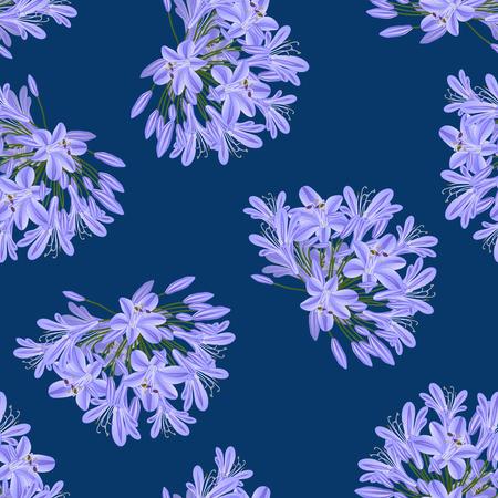 Blue Purple Agapanthus on Indigo Blue Background. Vector Illustration.