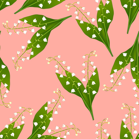 White Lily of the Valley on Pink Background. Vector Illustration.