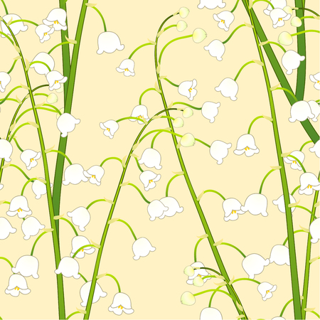 White Lily of the Valley on Yellow Background. Vector Illustration.
