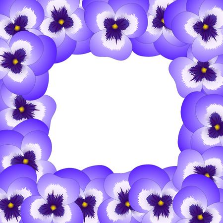 Violet Viola Garden Pansy Flower Border. Vector Illustration.