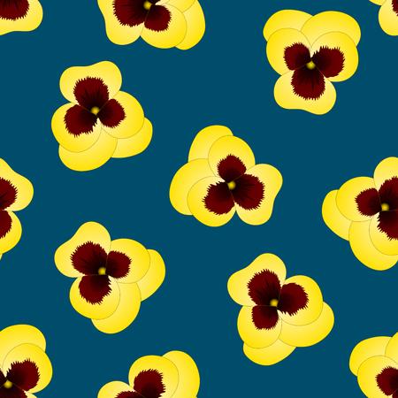Yellow Viola Garden Pansy Flower on Indigo Blue Background. Vector Illustration.