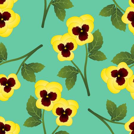 Yellow Viola Garden Pansy Flower on Green Mint Background. Vector Illustration. Vettoriali