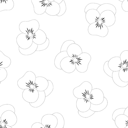 Viola Garden Pansy Flower Seamless Background. Vector Illustration.