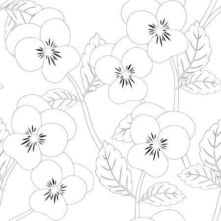 Viola Giardino Pansy Fiore Sfondo Senza Soluzione Di Continuità. Illustrazione di vettore.