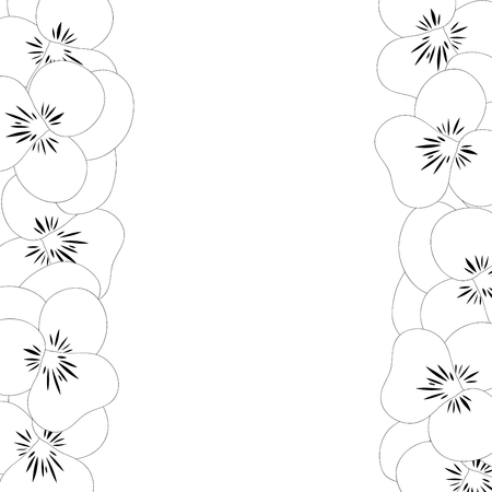 Viola Garden Pansy Flower Outline Border. Vector Illustration.