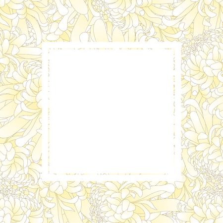 White Chrysanthemum, Kiku Japanese Flower Banner Card. Vector Illustration.
