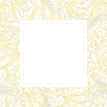White Chrysanthemum, Kiku Japanese Flower Banner Card. Vector Illustration.