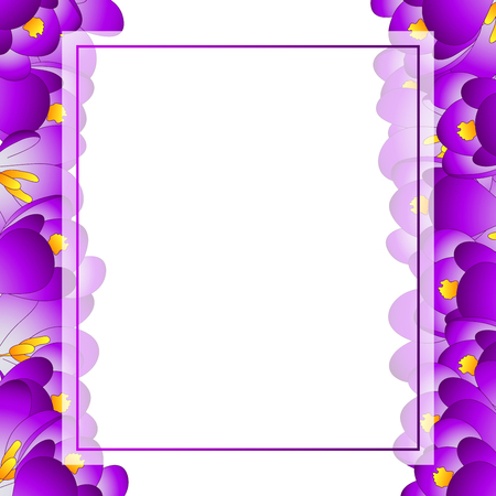 Purple Crocus Flower Banner Card Border. Vector Illustration.