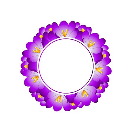 Purple Crocus Flower Banner Wreath. Vector Illustration.