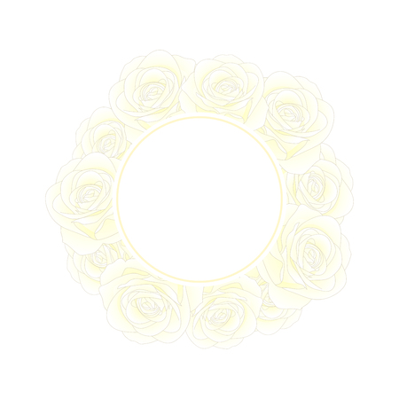 White Rose Flower Banner Wreath. isolated on White Background. Vector Illustration. 일러스트