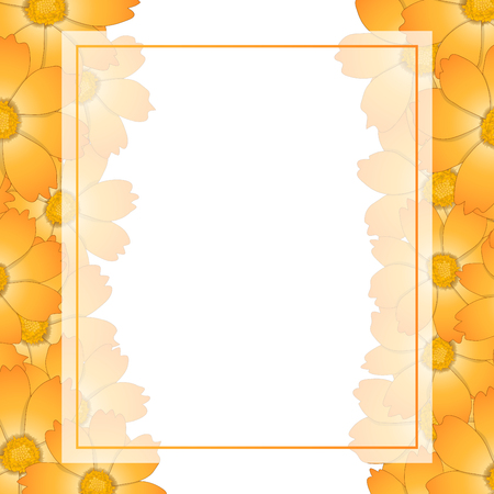 Orange Yellow Cosmos Flower Banner Card Border. Vector Illustration.