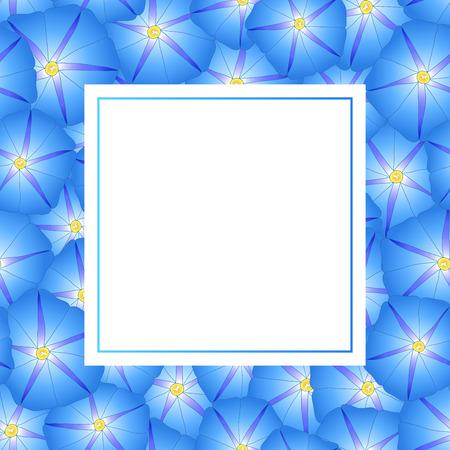 Blue Morning Glory Flower Banner Card. Vector Illustration.