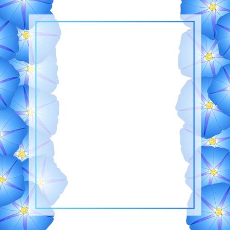 Blue Morning Glory Flower Banner Card Border. Vector Illustration. Иллюстрация