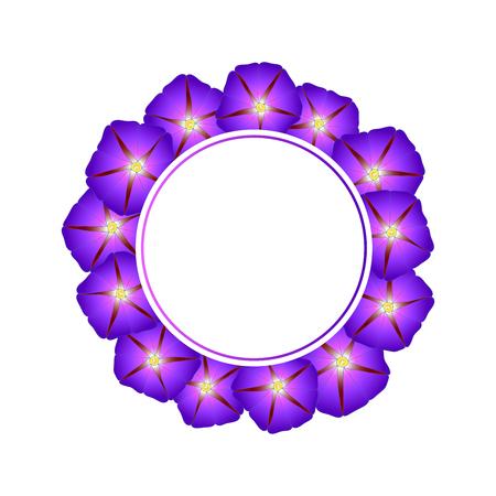Purple Morning Glory Flower Banner Wreath. Vector Illustration.