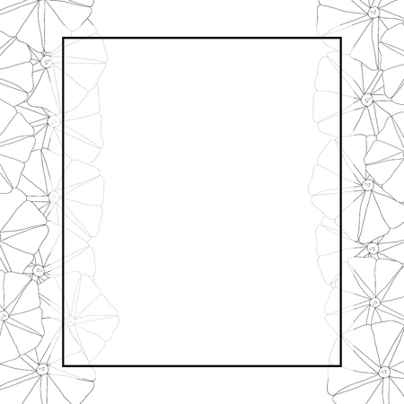 Morning Glory Flower Outline Banner Card Border. Vector Illustration.