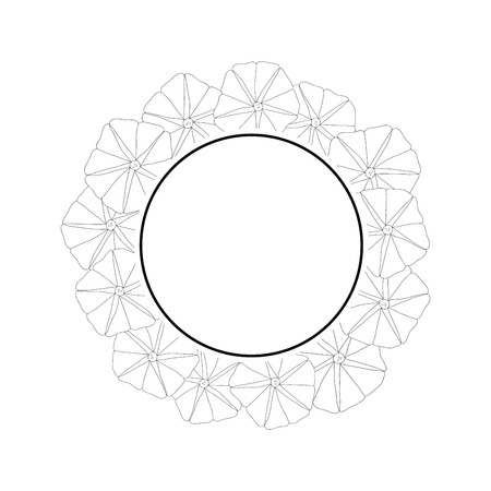 Morning Glory Flower Outline Banner Wreath. Vector Illustration.
