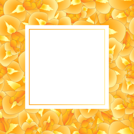 Orange Iris Flower Banner Card. Vector Illustration. Vettoriali