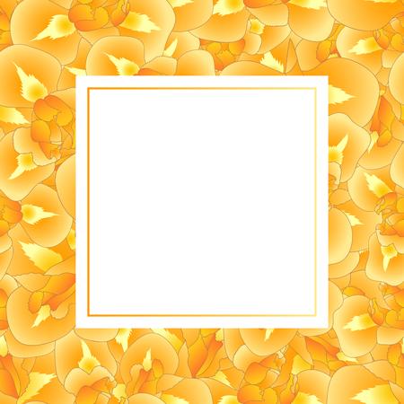Orange Iris Flower Banner Card. Vector Illustration. Illustration
