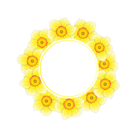 Yellow Daffodil - Narcissus Flower Banner Wreath. Vector Illustration.