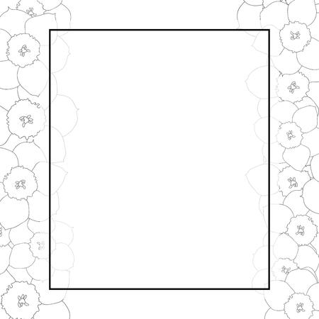 Daffodil - Narcissus Flower Outline Banner Card Border. Vector Illustration. 向量圖像