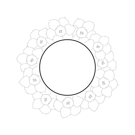 Daffodil - Narcissus Flower Outline Banner Wreath. Vector Illustration.