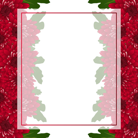 Red Chrysanthemum Banner Card Border isolated on White Background. Vector Illustration.