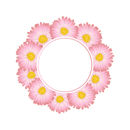 Pink Aster, Daisy Flower Banner Wreath. Vector Illustration.