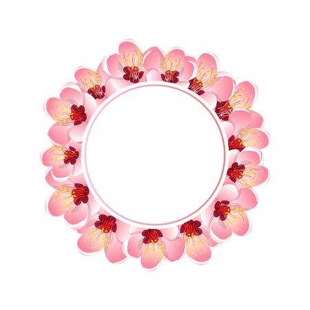 Momo Peach Flower Blossom Banner Wreath. Vector Illustration.