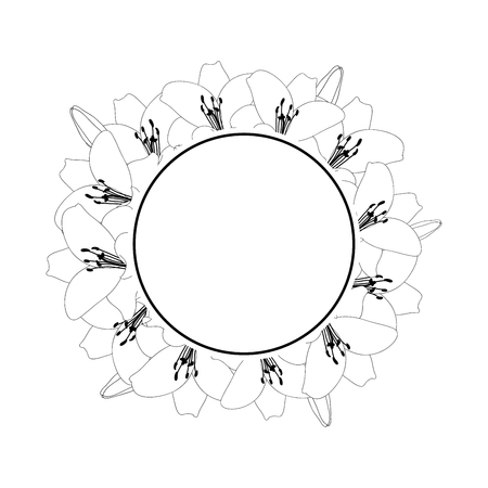 Lily Flower Outline Banner Wreath isolated on White Background. Vector Illustration. 일러스트