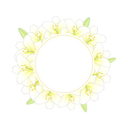 White Lily Flower Banner Wreath. Vector Illustration.