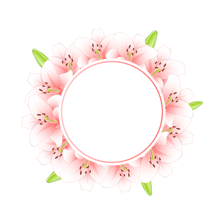 Pink Lily Flower Banner Wreath isolated on White Background. Vector Illustration.
