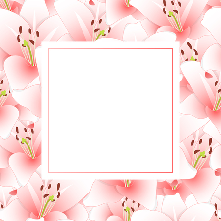 Pink Lily Flower Banner Card. Vector Illustration. 일러스트