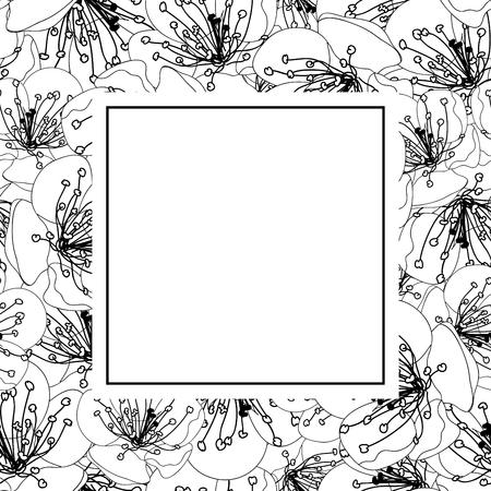 Pflaumenblüten-Blumen-Umriss-Banner-Karte. Vektor-Illustration.