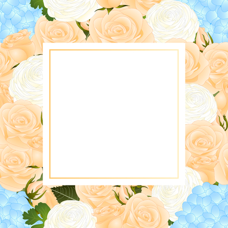 Orange Rose, Blue Hydrangea and White Ranunculus Banner Card. Vector Illustration. Stock Illustratie