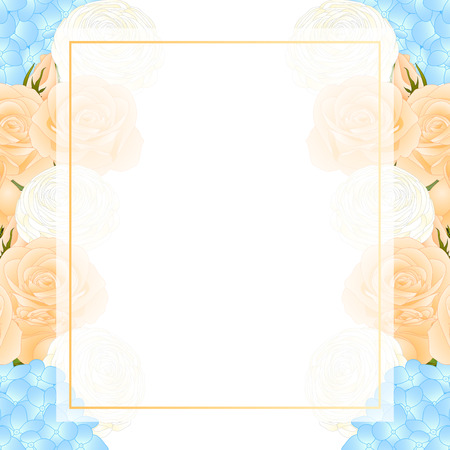Orange Rose, Blue Hydrangea and White Ranunculus Banner Card Border. isolated on White Background. Vector Illustration.