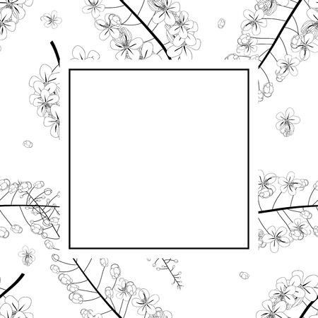 Cassia Fistula Outline - Golden Shower Flower Banner Card. Vector Illustration
