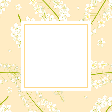 Cassia Fistula - Golden Shower Flower Banner Card. Vector Illustration