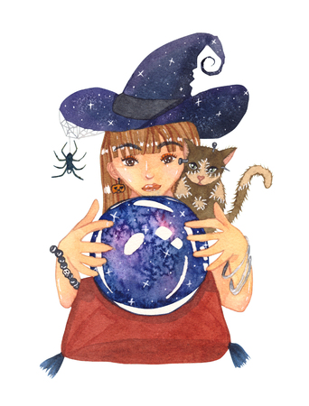 Fortuneteller Witch and Zombie Cat with Crystal Galaxy Ball Watercolor. Illustration isolated on White Background. Stock Photo