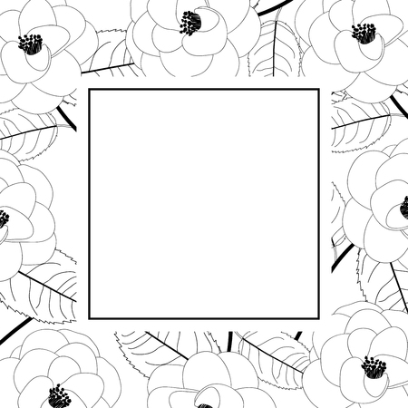 Camellia Flower on White Banner Card Outline. Vector Illustration. Vector Illustratie