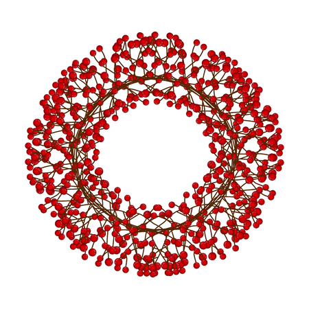 Red Berry Christmas Wreath isolated on White Background. Vector Illustration.