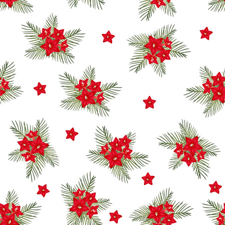 Cypress vine Flower on Christmas White Background. Vector Illustration.
